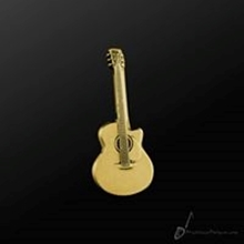 Picture of Music Pin Acoustic Guitar Gold